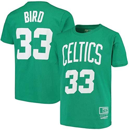 WZ Camiseta De Los Hombres De La Ropa De Baloncesto Boston Celtics # 33 Larry Bird Retro Cuello Redondo Jeysey, Fitness Sports Alero Superior Respirable,XXL:180~185cm