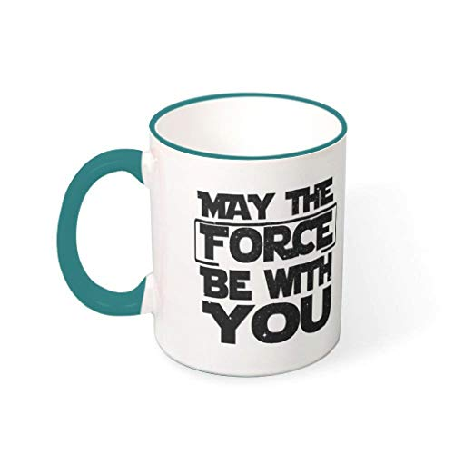 OwlOwlfan May The Force Be With You Colored Ceramic Mug Personalised Coffee Cup Tea Mug With Handle for Home Office Birthday Festival Gift For Women Men teal 330ml