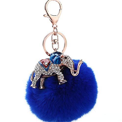 Schlüsselanhänger plüsch Ball Süß Mini Elefant Strass Taschenanhänger Elegant Plüsch-Kugel Glitzer Weich Schlüsselring bommel Keychain Handtaschenanhänger Dekor Auto-Anhänger Pompom (Blau)