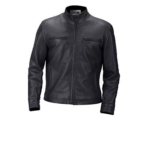 MSR Leather Black Designer Leather Jacket - Chaqueta de cuero para hombre - negro - XX-Large