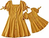 IFFEI Mommy and Me Matching Dress Short Sleeve Orange Summer Dress for Mother and Daughter 8-9 Years