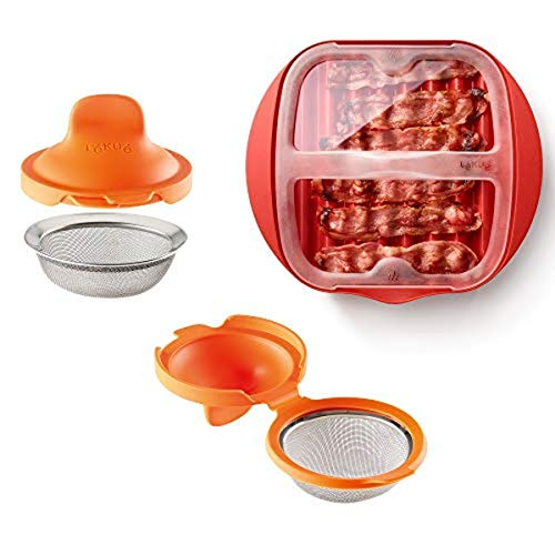 Lekue Microwave Bacon Maker/Cooker with Lid with 2 Poached Egg Maker/Poached Egg Cooker Kit