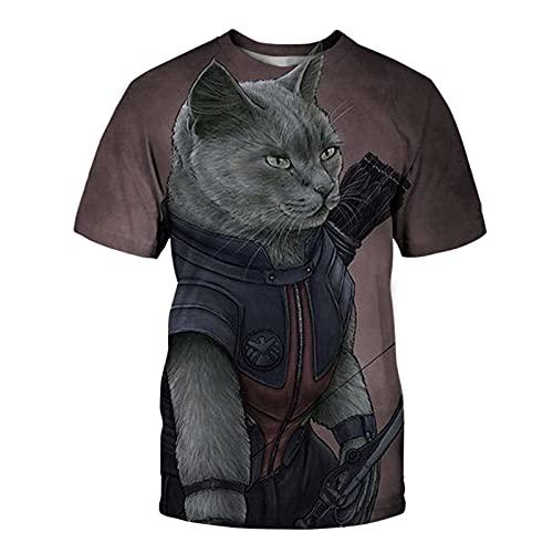 XDJSD Camiseta De Hombre Camiseta De Manga Corta Camiseta De Gran Tamaño Camiseta De Cuello Redondo Camiseta De Hombre Camiseta De Gato Camiseta De Manga Corta De Hombre Top