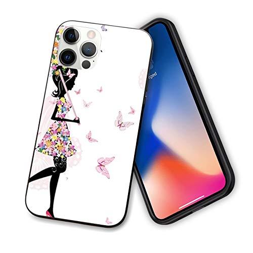 """Coque féminine compatible avec iPhone 12 Series 2020 Motif fille avec parapluie floral et robe de marche avec papillons Art inspirant Coque fine en TPU souple pour iPhone 12 Pro Max 6,7"""""""