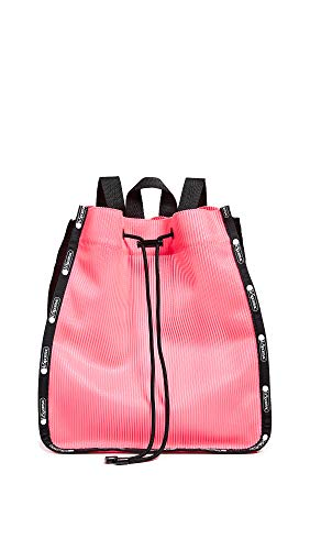 LeSportsac Women's Nadine Drawstring Backpack, Neon Pink, One Size