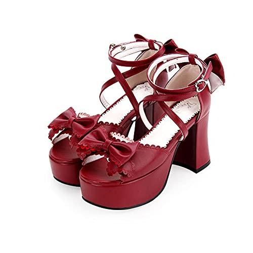 PetMeows Sandalias Lolita Zapatos Princesa de tacón Alto con pajarita-44_Vino Tinto