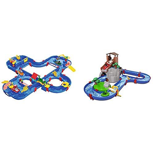 BIG Spielwarenfabrik 1660 AquaPlay - AquaPlay´NGO - 160x145x22cm große Wasserbahn, größte Wasserwelt & AquaPlay - Adventureland - Wasserbahn mit Berg, Turm und Stausee, Spieleset inkl. 2 Tierfiguren