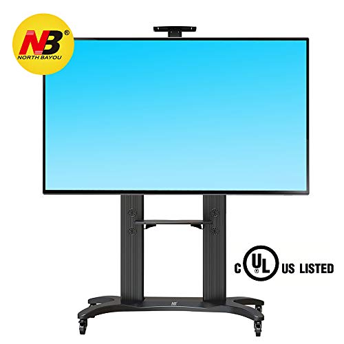 NB North Bayou Mobile TV Cart TV Stand with Wheels for 55 to 80 Inch LCD LED OLED Plasma Flat Panel Screens up to 125lbs AVF1800-70-1P (Black)