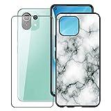 KJYF para Xiaomi 11 Lite 5G NE Funda + Cristal Templado, Case Caso Negro Suave Silicona Cover TPU Carcasa Vidrio Templado Protector para Xiaomi 11 Lite 5G NE (6.55') - Canica