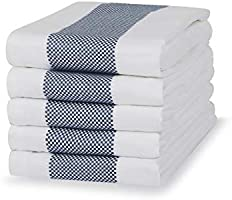 Sticky Toffee 100% Cotton Tea Towels | 5 pack of Kitchen Towels | 50 x 70 cm | Blue | Absorbent Restaurant Bar Glass...