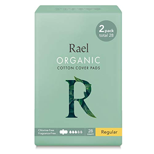 Rael Certified Organic Cotton Menstrual Regular Pads, Ultra Thin Natural Sanitary Napkins with Wings...