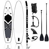 lucear Sup Stand Up Paddle Board Gonflable 320 x 76 x 15 cm Accessoires complets Pagaie réglable, Pompe, siège Kayak, Sac à Dos de Voyage, Laisse, Sac étanche (Blue 320X76X15CM)