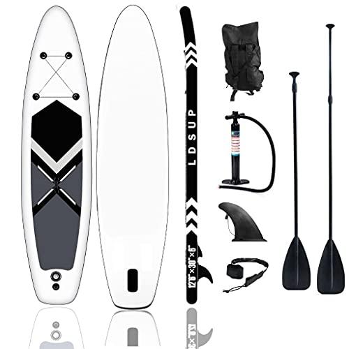 CNSPORT Stand Up Paddle Board Gonflable 320 x 76 x 15 cm Sup Accessoires complets Pagaie réglable, Pompe, Sac à Dos de Voyage, Laisse, Sac étanche (Black-White 320X76X15 CM)