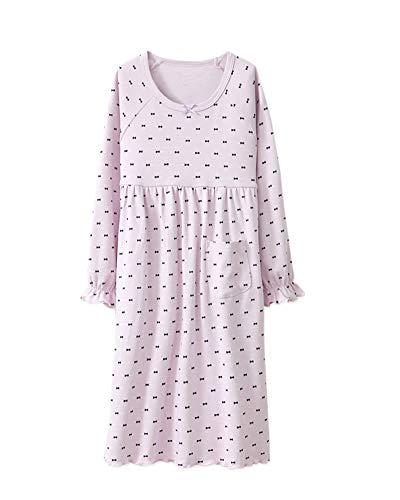 DianShaoA Mädchen Romantisches Nachtwäsche Langarm Vintage Tupfen Drucken Mit Rüschen Schlafanzug Violett 100