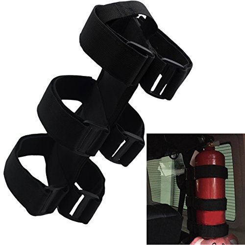 MAYMII Black Adjustable Roll Bar Fire Extinguisher Holder For Jeep JK CJ TJ YJ