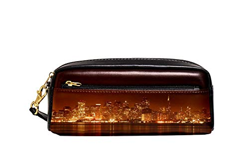 San Francisco City Night Pencil Case PU Leather Stationery Pouch Case School Pencil Box Women Cosmetic Bag