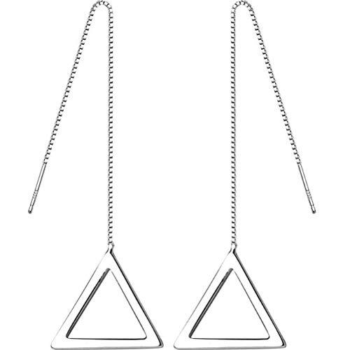 WOZUIMEI S925 Triángulo de Plata Línea de Oreja Estilo Coreano Femenino Simple Geometría de Cadena de Oreja Larga HuecaUn par
