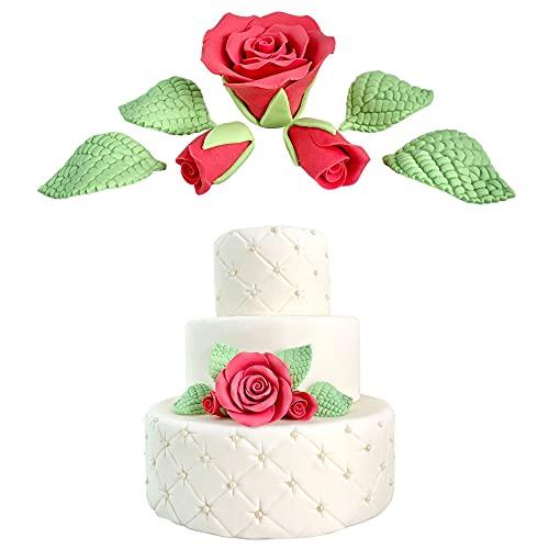 Rosas rojas y hojas de azúcar para decoración de tartas, cake topper para fiestas, cumpleaños, bautizos y bodas
