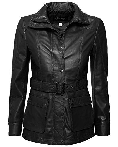 JCC Damen Lederjacke Mit Verdecktem Reißverschluss R6382 Black 36