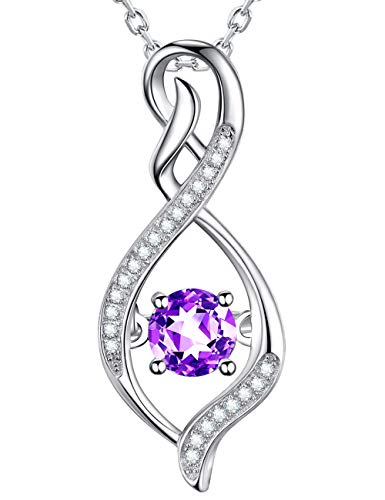 GinoMay Mujer Plata fina 925 plata de ley Round Brilliant Purple Amethyst
