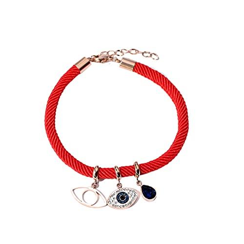 WLLLTY Pulsera Mujer, Pulsera roja con Dije para Mujer, Acero de Titanio, Pulsera chapada en Oro Rosa de 18 K, joyería de Moda