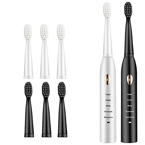 OOFAJ 2PCS Electric Toothbrush Rechargeable, Automatic Sonic Electric Toothbrush, Student Male And Female Couple Travel Toothbrush Set, 5 Brushing Modes, A