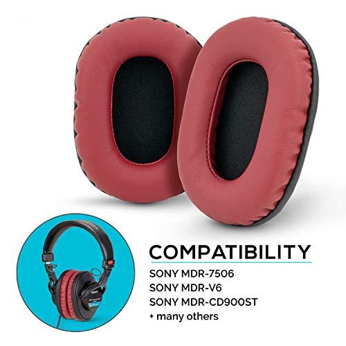Brainwavz Earpads for Sony MDR 7506, V6, CD900ST, Memory Foam Ear Pad & Suitable for Other On Ear Headphones, Dark Red
