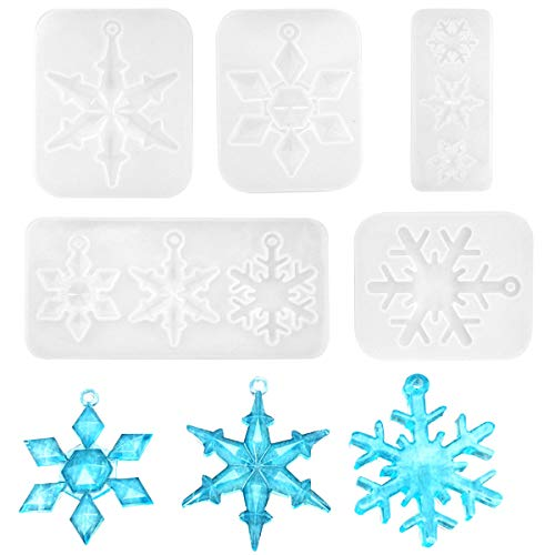 Jinlaili 5 Pieces Silicone Moulds for Christmas, Snowflake Epoxy Molds, DIY Snowflake Pendant Resin Mold, Snowflake Crystal Epoxy Casting Mold for Wedding Christmas Ornament Decoration
