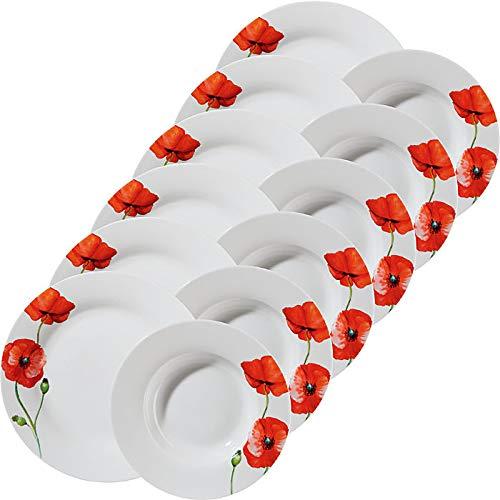 Gepolana Tafelservice 12-tlg. - Tafelgeschirr - Geschirrset - für 6 Personen - Porzellan - rot - spülmaschinengeeignet - mikrowellengeeignet