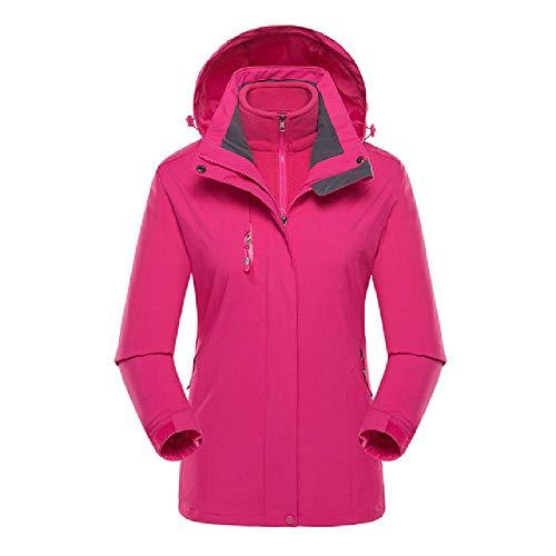 De las mujeres al aire libre más el tamaño de la chaqueta impermeable con capucha sombrero desmontable transpirable deportes abrigo femenino casual