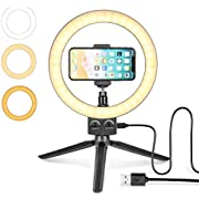 Ring Light LED 9'' Tripod Stand with Selfie Cell Phone Holder Infinity Dimming Brightness Levels 3 Colors for YouTube Video, Makeup and Live Stream - Lomia
