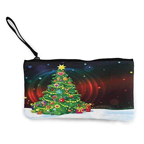 Weihnachten, Frauen 'S Wallets Bunte lustige geschmückten Weihnachtsbaum abstrakt Hintergrund mit Sternen präsentiert Cartoon W 8,5' x L 4,5 'Geldbörse Wallet Canvas