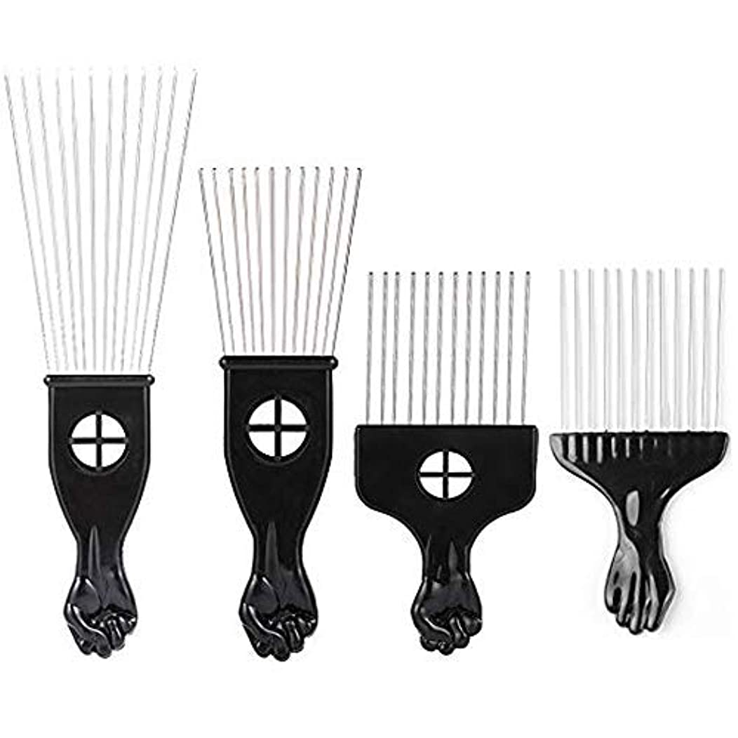 ビーチむしゃむしゃ預言者Borogo Afro Combs, 4-Pack Afro Pick w/Black Fist - Metal African American Pick Comb Straight Hair Brush Hairdressing Styling Tool [並行輸入品]