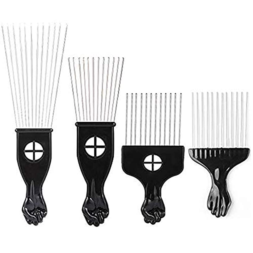 背骨パース剥離Borogo Afro Combs, 4-Pack Afro Pick w/Black Fist - Metal African American Pick Comb Straight Hair Brush Hairdressing Styling Tool [並行輸入品]