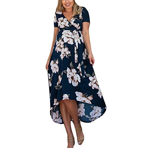 Blumenmädchen-Sommerkleid für Damen, Sommerkleid mit V-Ausschnitt, lässig, mit Blumenmuster, kurzärmelig, Outdoor-Kleid, Blau XX-Large