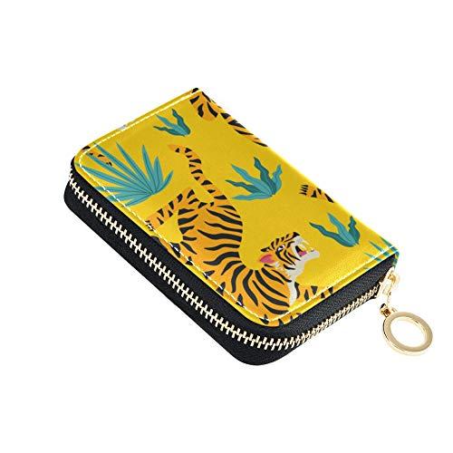 IdCardHolder Tiger Leopard Accesorio de Moda CreditCardCase Cuero PU Cremallera Alrededor Tamaño...