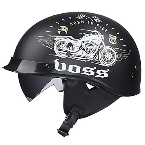 Casco de la motocicleta de la media apertura de la media adulta con las gafas Visor Motorbike Helmets Motocross Racing Protección de seguridad Caps Unisex Allround Casco de ciclismo (Color: B) ,Protec