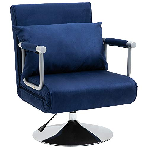 HOMCOM 3-in-1 Sofa Chair Single Bed with 5-Position Adjustable Backrest and Seat Height, Thick Sponge Padding with Pillow, Blue