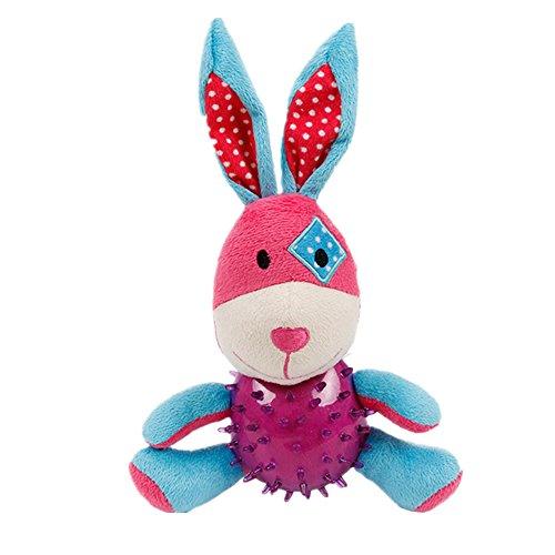 JBBERTH Unique Cute Cartoon Design Squeak Plush Dog Toy for pet Puppy chew Toy (Rabbit)
