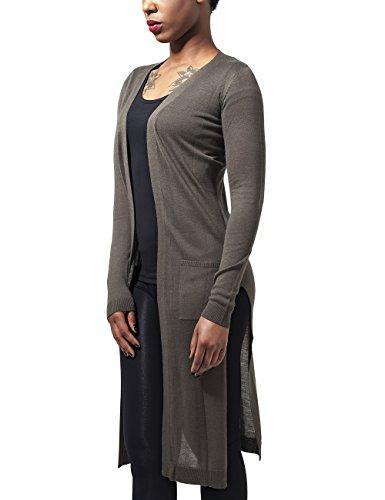 Urban Classics Damen Ladies Fine Knit Long Cardigan Cape, Grün (Olive 176), Medium