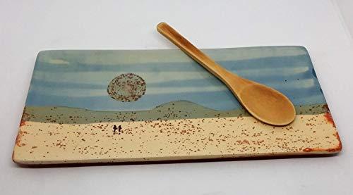 Bandeja de cerámica rectangular para alimentación y decoración 28x14x1