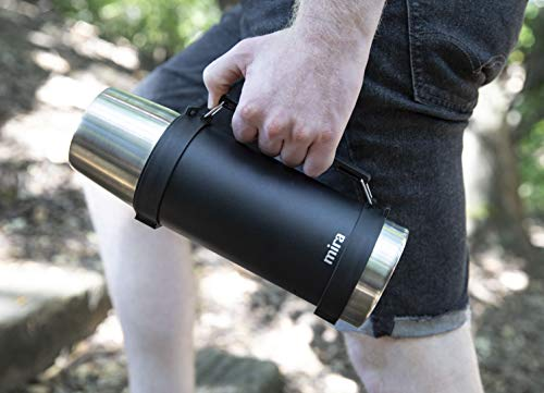 MIRA Classic Stainless Steel Vacuum Wide Mouth Thermos | Leak-proof Double Walled Insulated Camping Flask | Beverage Bottle Keeps Your Drink Hot & Cold | 1 L (34 oz) | Black