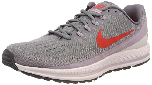 Nike Womens Air Zoom Vomero Mesh Lace-Up Running Shoes, Gunsmoke/Elemental Rose/Barely Rose/Habanero Red, 9