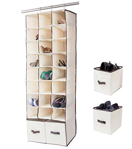 24 Slot Hanging Shoe Organizer In Closet Over Rod Shoe Caddy With Foldable Drawers Storage Bag Space Saving Shoe Rack Holder