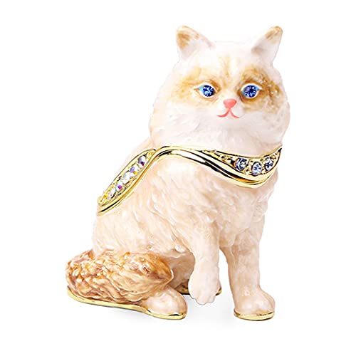 SMFN Caja de cerámica Jeweled Tinket Box Kitty Figurine Collectable Joyería Caja de Joyería para Anillo Pulsera Joyería Anillo De Boda Pendientes