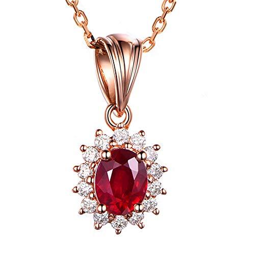 QWJ Collar para mujer, chapado en oro rosa, diamante rojo y diamante colgante