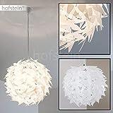 Suspension blanche DOKKKAS élégante avec support métal - Lustre de salon - Compatible LED - Lampe pour chambre - Lampe ronde compatible avec les appareils LED