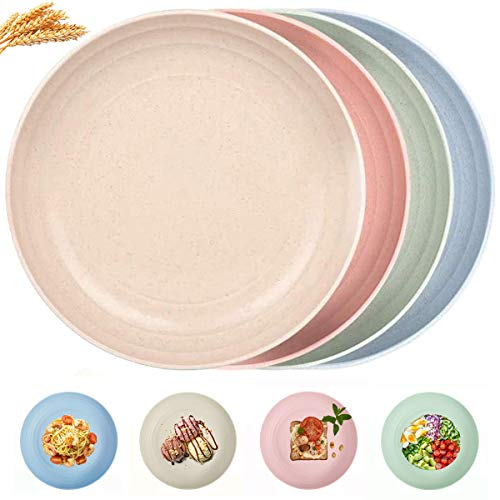 Dinner Plates 8.9 Inch, Dessert, Salad, Fruit, Snack Plate Set, Plastic Dinnerware Set, Plastic Plates, Microwavable Dinner Plates Sets for 4, Cereal Wheat Straw Microwave Safe Dinnerware, Dishes Set