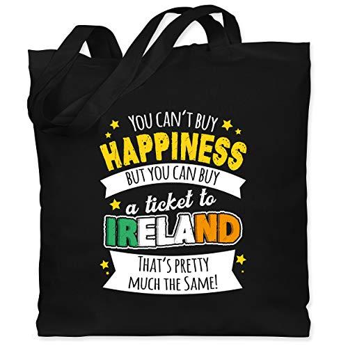 St. Patricks Day - A ticket to Ireland - weiß - Unisize - Schwarz - Fun - WM101 - Stoffbeutel aus Baumwolle Jutebeutel lange Henkel