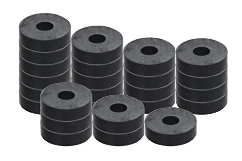 "RAM-PRO 25-Piece Powerful Magnetic Round Ferrite Magnet Discs with ¼"" Dia. Holes (3/4' x 1/4') – Universal Use on Frigidaire's, Bulletin Boards & Arts-Crafts Projects, Etc."